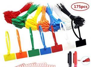 175 Stück Kabelbinder Tags bunt Kabelbinder Etiketten selbstsichernde Kabelbinder Marker mit 256 Stück weißen Etiketten und 2 Stück Marker für Kabel-, Kabel-und Kabel-Management 150 x 3mm