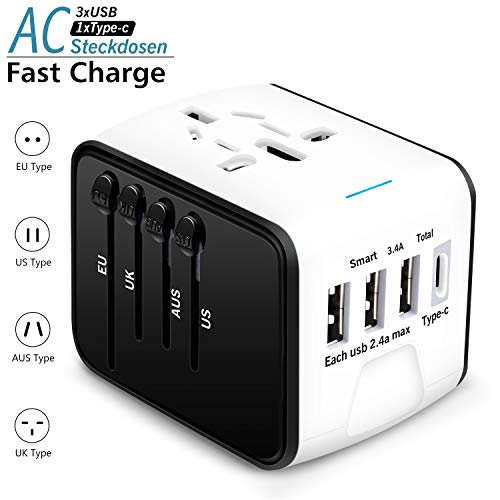 Agedate Internationale Netzadapter USB Reiseadapter Reisestecker mit 3 USB Ports+1 Type C, Universal Travel Adapter USB Stecker Steckdose Adapter für 224 Ländern Europa UK Australien USA China