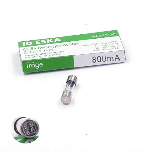 Schmelzsicherung, träge T, aus Glas, 800°A/250°VAC, 5°x°20°mm, 10 Stück