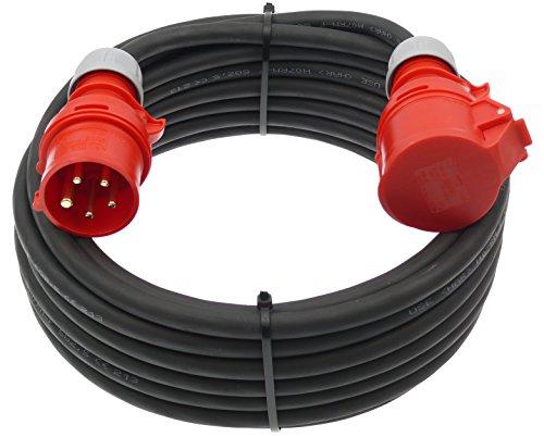 CEE Starkstromkabel 400V / 32A 25m Verlängerungskabel 5-polig 3P+N+PE H07RN-F 5×2,5 mm²AC Gummikabel IP44 Außenbereich
