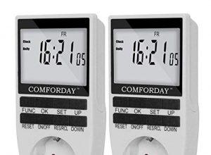 Comforday Digitale Zeitschaltuhr, 2er Pack, Elektronische Zeitschaltuhr Steckdose mit LCD-Display, 10 Programme, 16A 3680W, Programmierbare Timer-Buchse für die Diebstahlsicherung im Zufallsmodus
