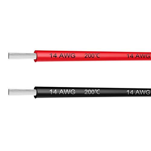 NorthPada 14 AWG 1,5mm² Elektronik Elektrischer Draht Kit Litzen Silikon Leitungen Draht Verzinntes Kupfer Kabel 2 FarbeSchwarz+Rot 600V 20A 2 x 3meter