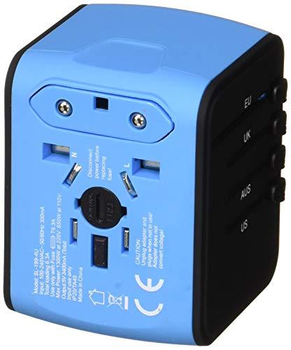 All in One für USA, England, EU, AUS & Asien – UNIDAPT Universal Reiseadapter Reisestecker mit 4X USB – Schnelle 2,4 A | Weltweit in 160 Ländern nutzbar – Ladegerät, Wechselstrom Steckdosenadapter