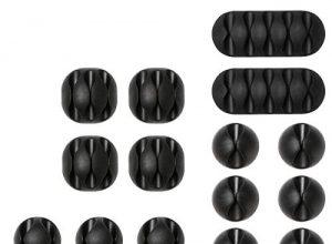 Kabelclips Kabelhalter, URAQT Vielzwecke Kabelführung Kabel Organizer Set für Schreibtisch, Netzkabel, USB Ladekabel, Ladegeräte, Audiokabel, 20 Stück, Schwarz