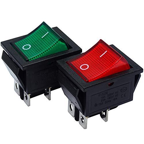 mmtrade® | 2x Kippschalter rot/grün beleuchtet 230V, ON-OFF/EIN-AUS Wippschalter beleuchtet, DPST, Einbauschalter einrastbar mit Selbsthemmung, 20A/125VAC, 15A/250VAC