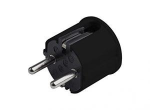 250 V – Maximaler Kabelquerschnitt 2,5 mm² – 16 A – schwarz – Meister Schutzkontakt-Stecker – IP20 Innenbereich – Seitliche Einführung / Schuko-Stecker mit Zugentlastung / 7421120 – Kunststoff