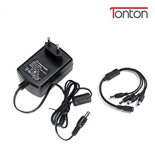 Tonton DC 12V 2A CCTV Kamera Netzteil EU Stecker Schwarz Power Supply Netzgerät für CCTV DVR/Kamera+ 1 auf 4 Y-Splitter DC 12V Kabel Splitter 1 Buchse zu 4 Stecker für Überwachungskamera