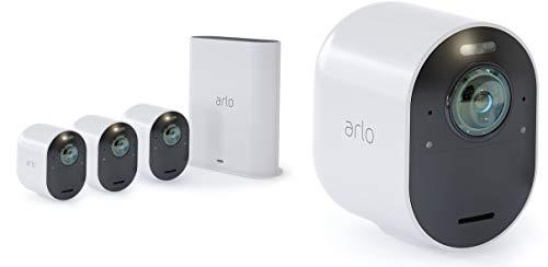 Arlo Ultra Smart Home 4 4K UHD und HDR Security-Überwachungskameras Farb-Nachtsicht, funktioniert mit Alexa, 180 Grad Blickwinkel, Spotlight, Wetterfest, HD Audio weiß, VMS5440