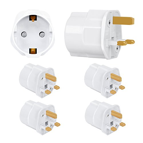 Incutex 4X Reisestecker UK GB England Travel Adapter EU Schuko 2-Pin auf UK 3-Pin Reise Steckdosenadapter Typ G, weiß