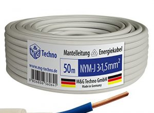 50m NYM-J 3×1,5 mm² Mantelleitung Elektro Strom Kabel OFC MADE IN GERMANY, Model 7343