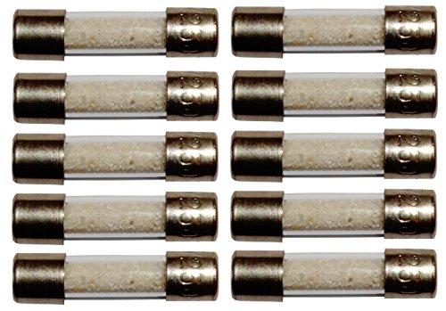 Aerzetix: Satz von 10 Glassicherungen Glasrohr Sicherungen 2cm 20mm 5mm 5x20mm 220V 250V 2.5A