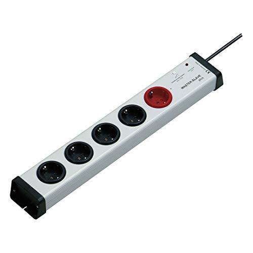 5-fach-Steckdosenleiste mit MasterSlave-Funktion und Überspannungsschutz mit 1,5-m-Zuleitung | MasterSlave-Mehrfachsteckdose max. 250 V/AC / 3.600 Watt | 0212×00052301