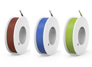 NorthPada 18 AWG 0,75mm² Elektronik Elektrischer Draht Kit Litzen Silikon Leitungen Draht Verzinntes Kupfer Kabel 3 FarbeBraun+Blau+Gelb/Grün 600V 7,5A 3 x 4 meter