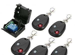OWSOO Smart Home Fernschalter 433 MHz DC 12 V 1CH Drahtloser Fernschalter Relais Empfänger Sender Universal Fernbedienung Schalter modul und 5 STÜCKE RF Sender Fernbedienungen
