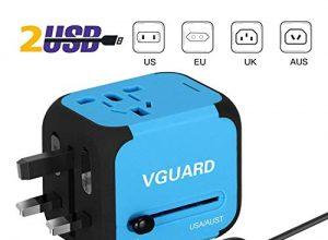 VGUARD Universellen Reiseadapter Netzteil mit Doppel USB-Ports und EU/UK/US/AU Stecker Universal Ladestecker Ladegerät Ladeadapter Travel Adapter für Weltweit 150 Ländern – Blau