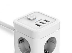 JSVER Steckdosenleiste 3 Fach mit USB, Würfel Mehrfachsteckdose Überspannungsschutz mit 3 USB Ladegerät 15.5W Schreibtisch Steckdosen mit Schalter für Büro, zu Hause oder auf Reisen 1.5m Kabel-Weiß