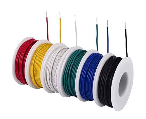 TUOFENG 22 AWG Solid Wire Kit 6 verschiedene Farben 9 Meter Spulen 22 Gauge Haken Up Wire Kit Kit