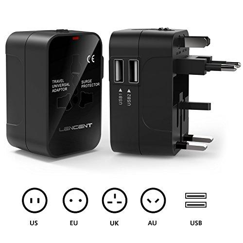 Reiseadapter/Reisestecker für 150+ Länder, LENCENT Universal Adapter, UK England/USA/EU Deutschland/AUS Stecker mit 2 USB Steckdosenadapter Stromadapter Steckdose