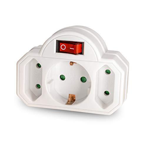 3Fach Multistecker – benon Mehrfachstecker weiß mit Schalter – Steckdosen-Adapter mit Kindersicherung – 2X Euro- und 1x Schuko-Stecker – Doppelstecker 3500W