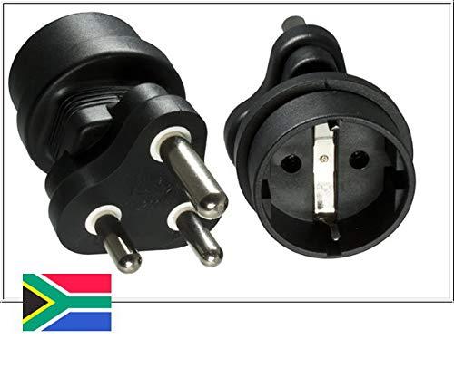 DINIC Reisestecker, Stromadapter für Südafrika und Indien auf Schutzkontakt-Buchse, Netzadapter 3-polig 1 Stück, schwarz