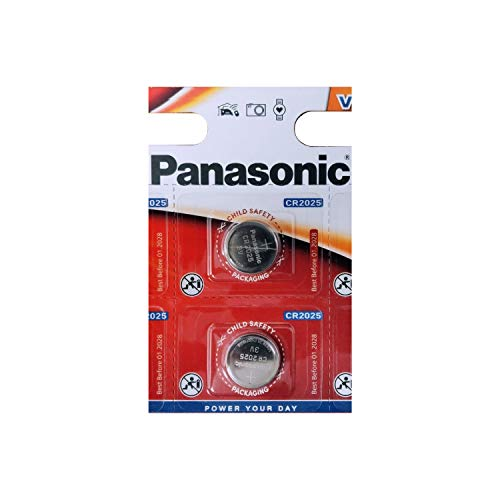 Panasonic Batterien CR2025 3 V 2 Stück Lithium Knopfzellen Multi-Purpose New