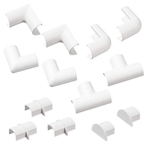 Weiß – D-Line Micro+ Kabelkanal Clip-Over Verbindungsstücke Multipack | Aufsteckbare Verbindungsstücke  | Verbinden Sie mehrere 20x10mm Kabelkanäle | 13-teiliges Kabelkanal Zubehör Set