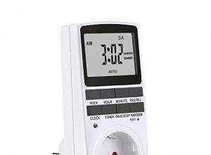 Digitale Zeitschaltuhr, Digitale Elektrische Zeitschaltuhr Steckdose mit LCD-Display und 10 konfigurierbare Programme, 3680W 12/24h Modus Steckdosenschalter mit Kinderschutzsicherung Zufallsschaltung