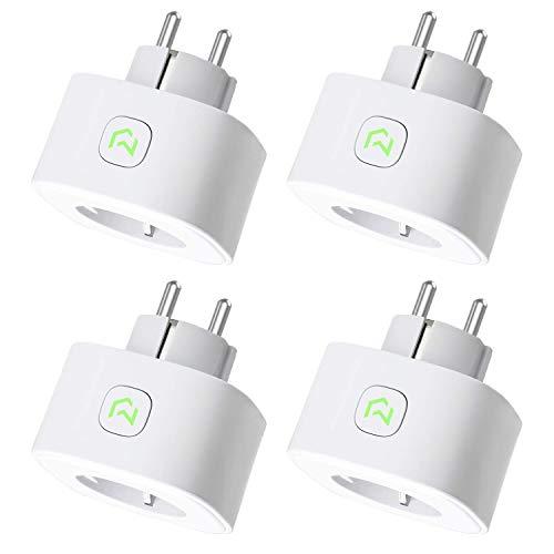 Meross WLAN Smart Steckdose Plug 4 Stücke, Intelligente Wi-Fi Steckdose 16A 3680W kompatibel mit Alexa, Google Home und IFTTT, mit App Fernsteuerung