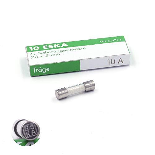 Schmelzsicherung, träge T, aus Glas, 10A/250VAC, 5x20mm, 10 Stück
