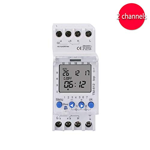 SINOTIMER 220V TM612 Zwei-Kanal-Timer 7 Tage 24 Stunden programmierbare elektronische LCD-Digital-Zeitschaltuhr mit zwei Relaisausgängen Farbe: Weiß