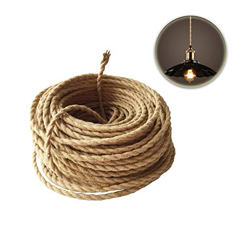 GreenSun LED Lighting 2 adrig,0,75mm² Seil Kabel Draht, 5m Textil Hanf Elektrische Mantel-Leitung, Twisted Geflochtene Stoffkabel Leinen Linie für Hängelampe DIY Lampe Zubehör