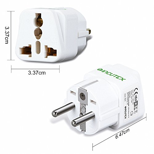 Incutex 1x universal Steckdosenadapter Reiseadapter universal Reisestecker US UK zu EU DE Schuko universal travel Adapter Plug, weiß