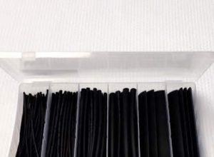 Schrumpfschlauch-Sortiment 100-teilig SET, 6 Größen, Schrumpfrate 2:1, 10cm lang, Aufbewahrungsbox, Isolierung 10cm, Schwarz, 100 – ERAY-Multimedia
