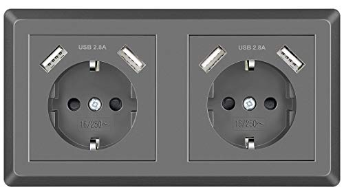 Doppelsteckdose mit USB Schuko Unterputz Steckdose System 55 Schutzkontakt-Steckdose Passt in Standard 2-fach Unterputzdose Steckdose Grau Wandsteckdose für Smartphone MP3 Aufladung