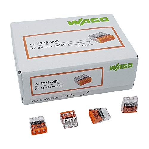 30 Stück Wago 2273-203 COMPACT-Verbindungsdosenklemme Ø 0,5-2,5 mm², 3-polig, transparent/orange