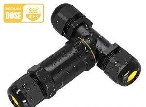Kohree Kabelverbinder Wasserdicht IP68 Verteilerdose Abzweigdose Klemmdose für Aussen T-Form 3-Polig für Ø4-14mm Kabeldurchmesser