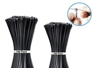 Aival Kabelbinder, 200 Stück Kabelbinder, 200 mm und 300 mm, hitze- und UV-beständiger Kunststoff, strapazierfähiger Nylon-Kunststoffdraht