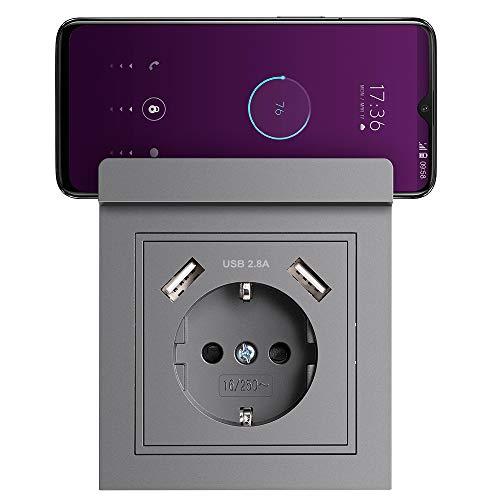 Steckdose mit USB und Handyhalter Max. 2.8A Schuko Unterputz Steckdose USB Grau System 55 Schutzkontakt-Steckdose Wandsteckdose Passent in Standard Unterputzdose für Smartphone MP3