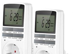 2er Digitale Zeitschaltuhr,EXTSUD Digitale Elektrische Zeitschaltuhr Steckdose LCD Display Steckdosenschalter mit 10 konfigurierbare wöchentlichen Programme und Random Diebstahlsicherung 12/24h 3680W