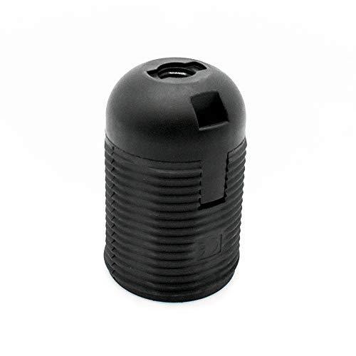 Fassung E27 schwarz Thermoplast mit Gewindemantel und Aufsteckkappe Feingewinde M10x1 Kunststoff-Fassung