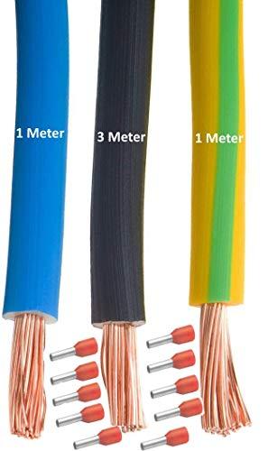 MicroParts Verdrahtungssatz Verdrahtungs-Set für Zählerplatz 10mm² 3/1/1 blau – grün gelb + 10 Aderendhülsen – schwarz
