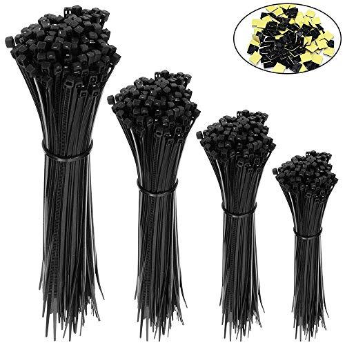Kabelbinder,400 Stücke Selbstverriegelung kabelbinder schwarz, UV-Beständig,Hitzebeständig,150/200/250/300 mm je 100 Stück Und 20 Kabelbinderhalter