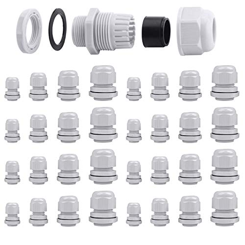 32 Pcs Kabelverschraubung Set, ARPDJK Einstellbar 3-15mm IP68 Kabelverschraubungen, Grau Kabeldurchführung Wasserdicht, M12, M16, M20, M25
