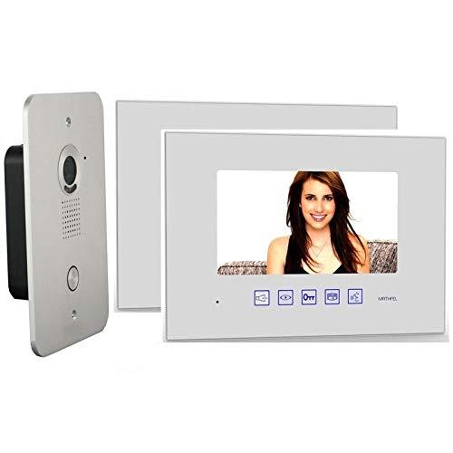 """2 Draht Video Türsprechanlage Gegensprechanlage mit 7 """" Monitor 2x Glas in weiß"""