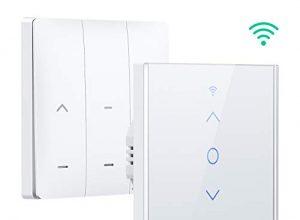 App Fernbedienung, 2.4GHz unterstützt – Jalousien Schalter mit Finger-Touch-Panel – Apiker WiFi Rolladenschalter Alexa – Rolladen Zeitschaltuhr – Kompatibel mit Alexa und Google Assistant