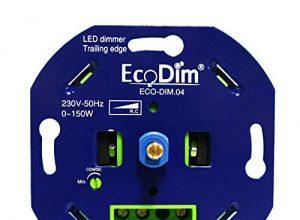 EcoDim – Basic LED Dimmer 230V eingebaut – Phasenabschnitt, 0-150 W, Push-Pull-Schalter, Drehdimmer für LED-Lampen, 100% Silent