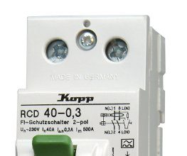 Kopp 754023083 Fehlerstromschutzschalter SF-RCD, 2-polig, 40 A, 300mA
