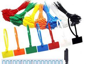 Kabelbinder Tags,250 Stück Kabelbinder Tags bunt Kabelbinder Etiketten selbstsichernde Kabelbinder Marker für Home Office Garage in der Kabel-Management 3×150MM