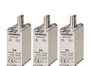 SIEMENS – x3 Stück NH-Sicherungseinsatz, NH000 50 A Stirnkennmelder