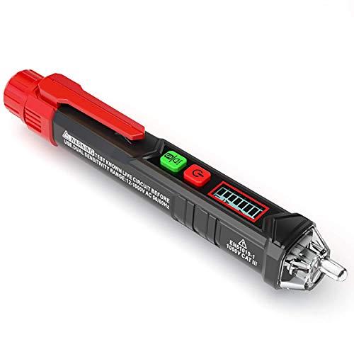 Berührungsloser Spannungsprüfer/Phasenprüfer, KAIWEETS AC Stromprüfer Durchgangsprüfer 12-1000V/48V-1000V, akustischer Summer und Lichtanzeige, mit LCD-Display und Taschenlampe Rot